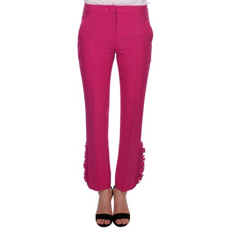 fuchsia pants with ruffles