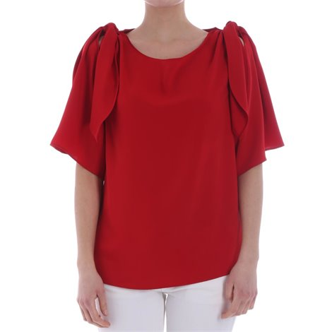 red flared sleeved blouse
