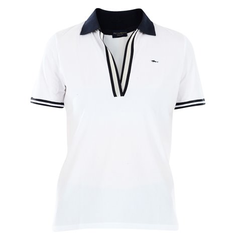 white patched polo