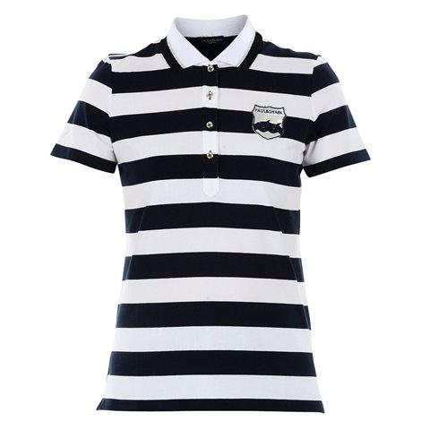 white and blue striped polo