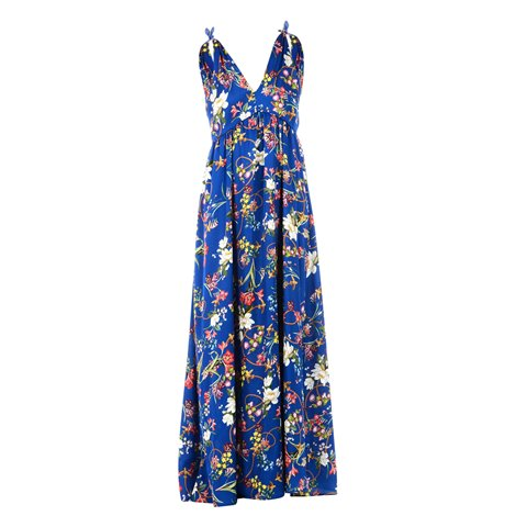 blue printed long dress