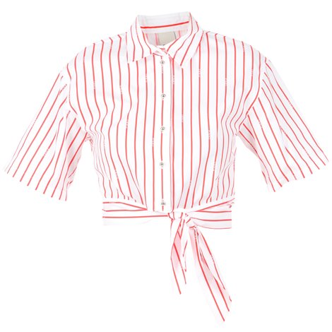 coral red stripes white shirt