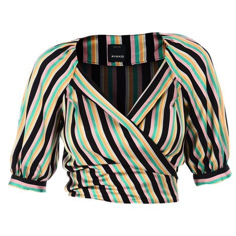 green and pink striped blouse