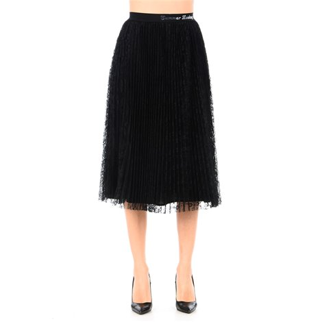 black pleated lace skirt