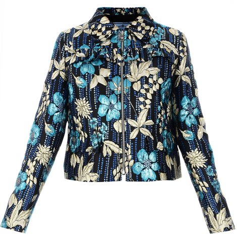 black printed jacket with embroideries