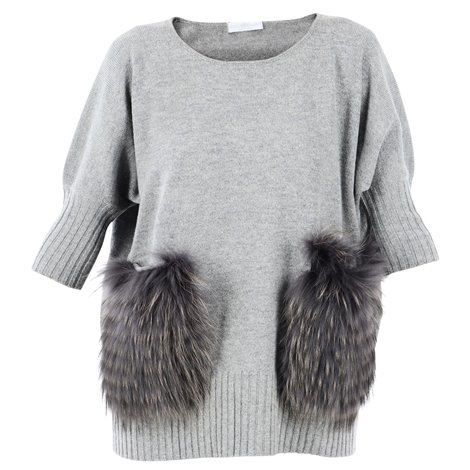 fur detail grey sweater