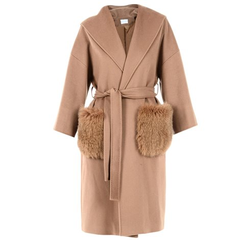 fur details camel coat