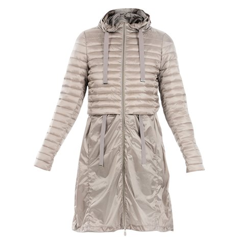 beige padded dust coat