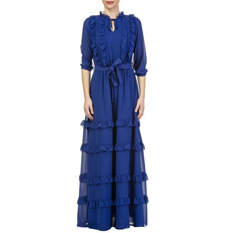 blue long dress with flounces and belt