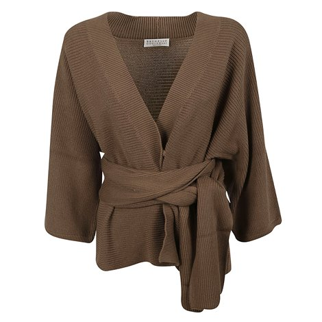 brown belted cardigan
