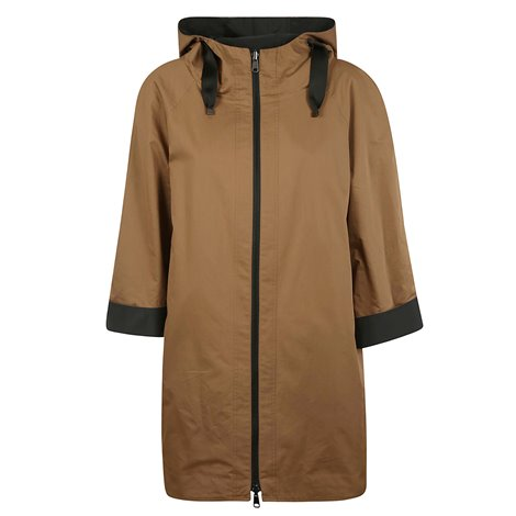 brown silk hooded rain coat with zip