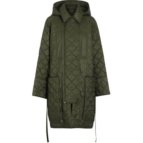 green quilted down filled coat