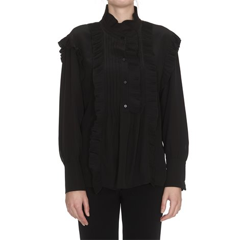 black frilled blouse