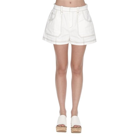 white denim stretch shorts