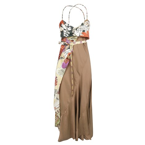 brown silk dress with printed insert