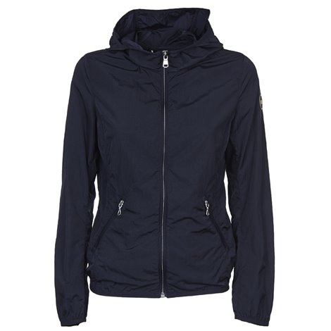 blue zipped and hooded jacket