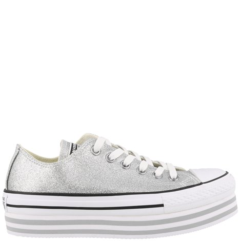 low top sneakers silver