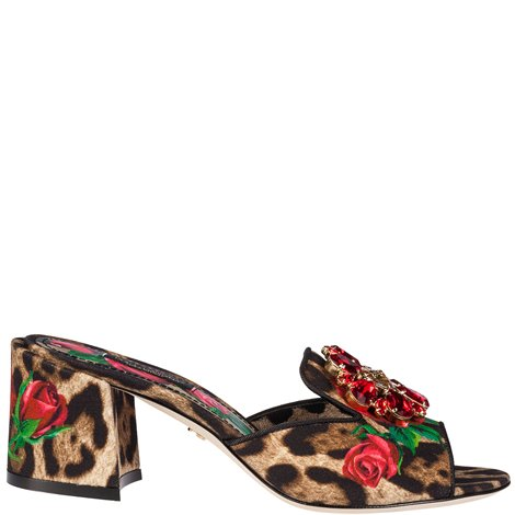 leo print embellished sandals