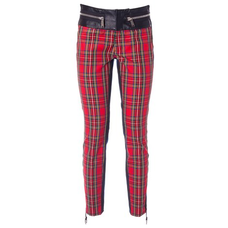 red printed trousers