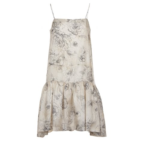 ivory silk printed dress