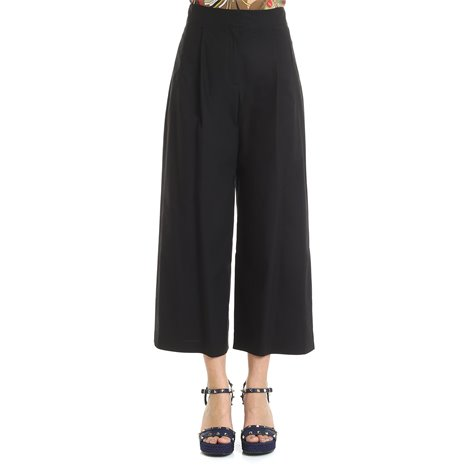 black cotton trousers with pleat