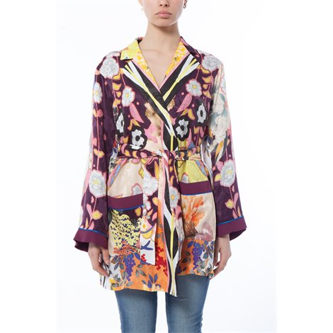 printed jacket with belt