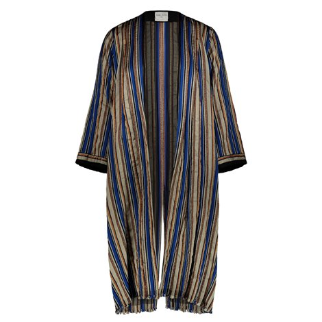 beige and blue striped light overcoat