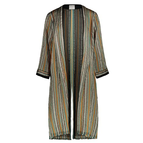 grey and beige striped light overcoat