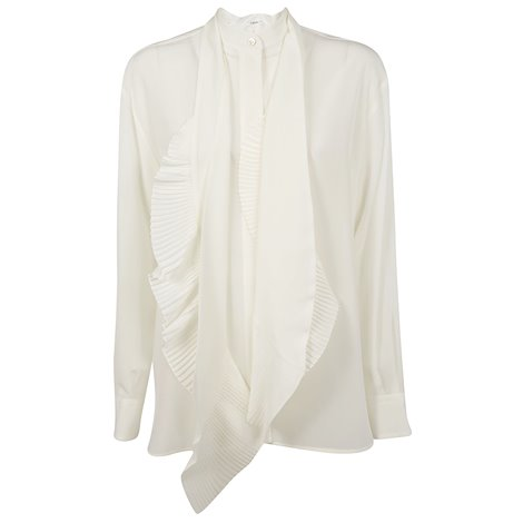 ivory silk shirt with pleated inserts