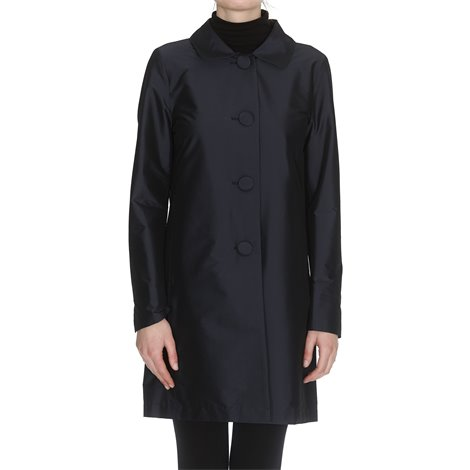 blue coat with covered buttons