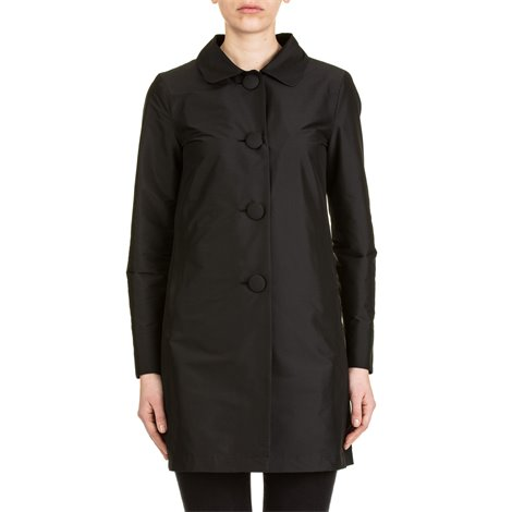 black coat with covered buttons