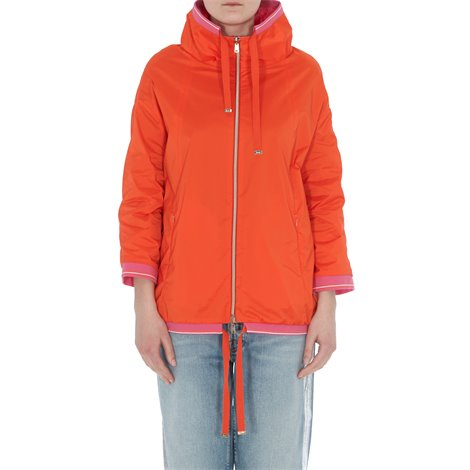 orange hooded reversible light jacket