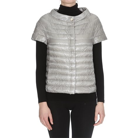 grey short sleeves down jacket
