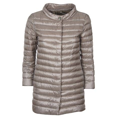 dove grey quilted down jacket