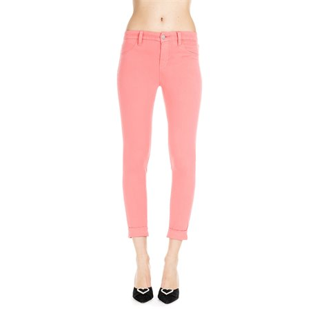 pantaloni super skinny cropped in luxe sateen