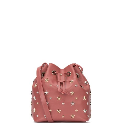 brick red leather juno small bucket bag with studded stars