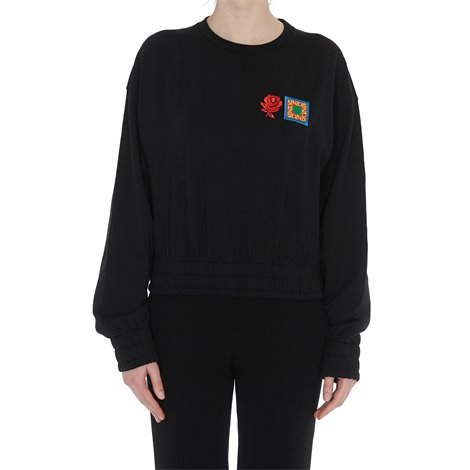crop sweater with patches