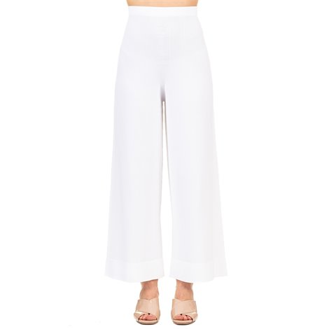white viscose blend trousers