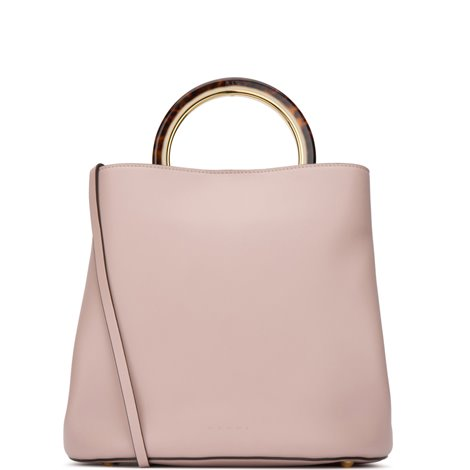 handbag pannier in pink smooth leather