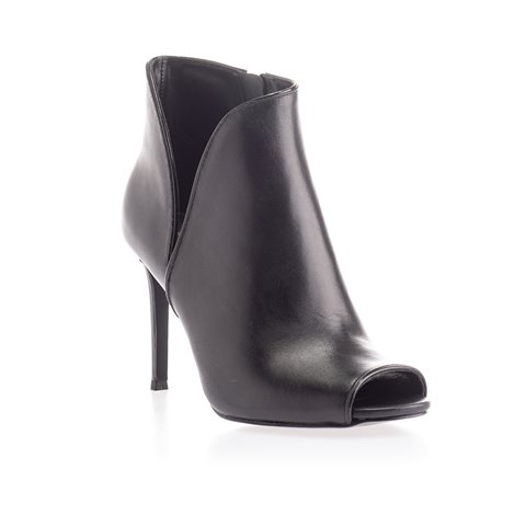 black leather open toe ankle boots