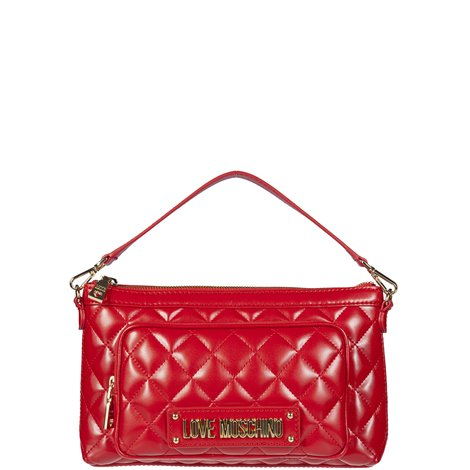 red quilted faux leather bag