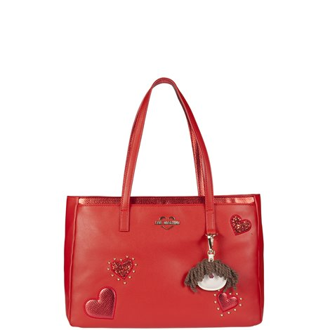 red shopper with patches