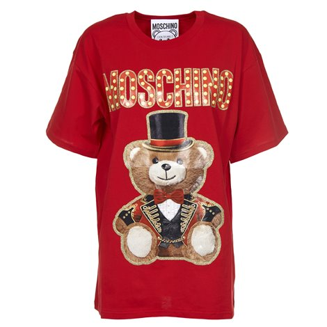 t-shirt rossa con stampa circus bear
