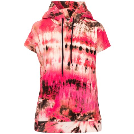 multicolored short sleeved hoodie
