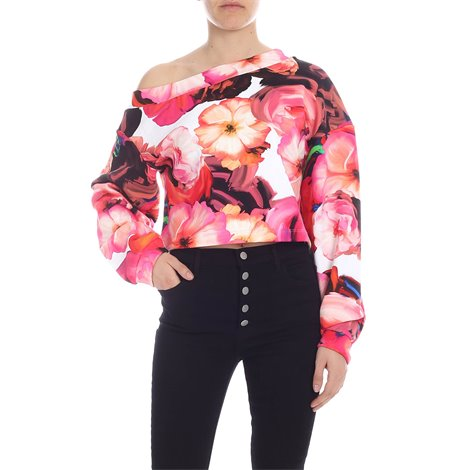 flower print cropped sweatshirt