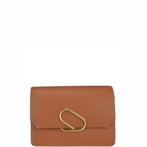 brown leather alix clutch bag
