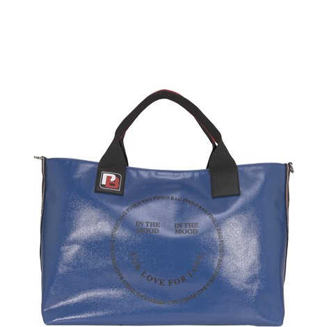 blue eco-leather shopping bag