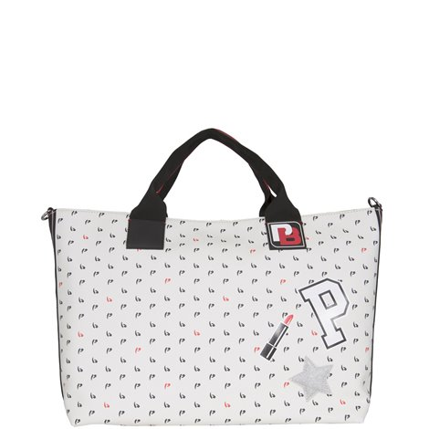 white shopping bag with patches