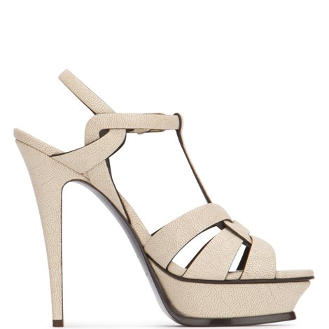 cream textured leather tribute sandals