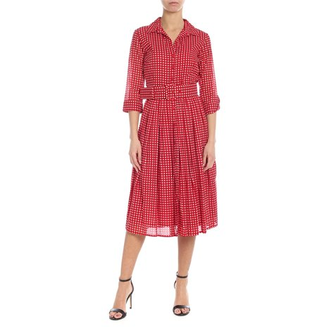 red and white<br/>vichy print<br/>tight waist<br/>flared skirt<br/>pleated details<br/>side stitching pockets<br/>semitransparent three-quarter sleeves<br/>buttoned cuffs<br/>removable tape<br/>belt included